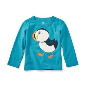 NWT Tea Collection Puffin Long Sleeve Graphic Tee